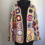 Afghanische häkeln Strickjacke /Festival Jacke /Hippie Decke Festival /  Vintage häkeln Jacke /Grandma Suquare Sunburst Kreis Cardigan /