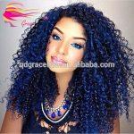 mode blauwe natuurlijke afro haar kinky krullende maagdelijke menselijk haar  pruiken