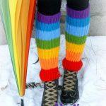 Regenbogen Multicolor stricken gerippte Muster lange Erwachsene Rainbow  Beinlinge