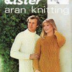 Vintage Damen / Herren klobige Aran Pullover Strickmuster pdf Damen  sperrige Kabine .