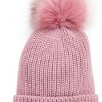 Treasure & Bond Chunky Stitch Beanie with Faux Fur Pom