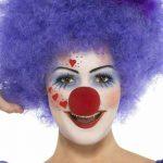clown schminken augenschatten rote nase rund lila perücke
