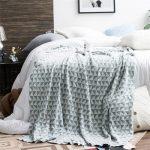 Geometrische Gestrickte Decke 100% Baumwolle Klassische Dekorative Muster  Bett Reise Nickerchen Freizeit Decke Farbecht Sofa