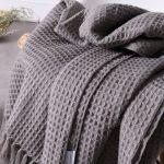 Waffel Muster Plaid Hause Dekoration Nordic Stil Beiläufige Gestrickte Decke  mit Quaste Decken für Betten Sofa