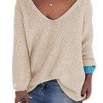 Tkria Damen V-Ausschnitt Lose Bluse Sweatshirt Langarm Pullover Oversize Gestrickte  Oberteile: Traveller Location: Bekleidung