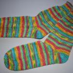 37 - 38 gestrickte Socken Wollsocken Regenwald Regenbogen Farben