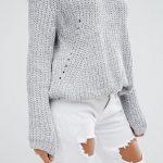 Missguided – Grob gestrickter Pullover Grau Damen