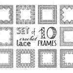 Vektor-Satz von 10 Skizze Spitzen häkeln quadratischen Rahmen.  Spitzenstreifenmuster. Standard-Bild