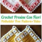 Crochet Presine Con Fiori Potholder Free Pattern+Video - Crochet Pot Holder  Hotpad Free Patterns
