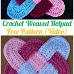 Crochet Weaved Hotpad Free Patterns - Crochet Pot Holder Hotpad Free  Patterns Topflappen, Decke Häkeln