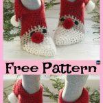 Häkeln Sie Weihnachtsslipper-Socken – kostenlose Muster  #freecrochetpatterns #Christmasid …