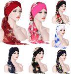 2018 chiffon haar schals Indien Muslim Floral Chiffon Kopftuch Wrap 8  Farben Frauen Stretch Turban Cap