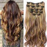 Neverland 22inch Haarteile 7 Stück 16 Clips in Haarverlängerungen Ombre  Wellig Curly Dip Dye Lange Haarverlängerungen
