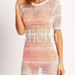 White Short Sleeve Honeycomb Crochet Beach Blouse | SHEIN UK