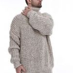Details about Men`s Hand Knit Wool Ribbed SWEATER ,T-neck, Handgestrickte  Pullover by SSEu