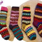 Wollsocken Bunt Winter Wollstrümpfe Handgestrickt Haus Socken Strick  Strickmode Winter Leg Warmers Handgestrickte Socken Woll Socken