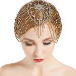 Traveller Location : BABEYOND Vintage Style Roaring 20s Crystal Rhinestone Flapper  Cap Headpiece (Gold) : Beauty
