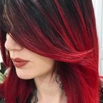 Schwarz Rot Ombre Haarfarbe