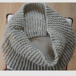 #19 Garter-stitch infinity scarf made with flat knitting Infinity Schal  Strickmuster, Strickhaubenschal