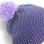 Einfache Mütze stricken im Perlmuster | Bommelmütze