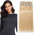 Clip in Extensions Echthaar Remy Haarverlängerung für komplette Haare 8  Tressen Doppelt Dicke 25cm-110g