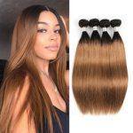 2019 remy haarverlängerungen 22 zoll 8A brasilianisches gerades Haar Ombre  dunkelblonde Haarwebart bündelt Farbe 1B /