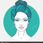Schöne Mädchen Gesicht Mit Haarknoten Frisur Machen Auf Und Neutralen —  Stockvektor