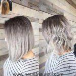 Schulterlanges Silbernes Haar