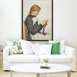 Strickendes Madchen with Floating Frame
