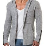 CARISMA Herren Strickjacke Cardigan Kapuzenpullover Zipper Patches 7221:  Traveller Location: Bekleidung