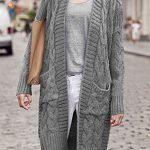 Grau Zopfmuster Taschen Langarm Mode Damen Lässige Cardigan Lange  Strickjacke