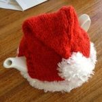 Santa Hat - Knitted Tea Cosy from the Marianne Collection.