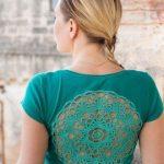 Smaragd Grün T-shirt Upcycled Jahrgang häkeln Deckchen zurück Trikot T-shirt-Größe  M-L