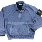 Stone Island New Blue Resin POPLIN-TC 1/2 Zip Pullover Windbreaker