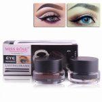 MISS ROSE 2 In 1 Brown + Black Gel Eyeliner Make Up Water-proof And  Smudge-proof Cosmetics Set Eye Liner Kit Makeup Black