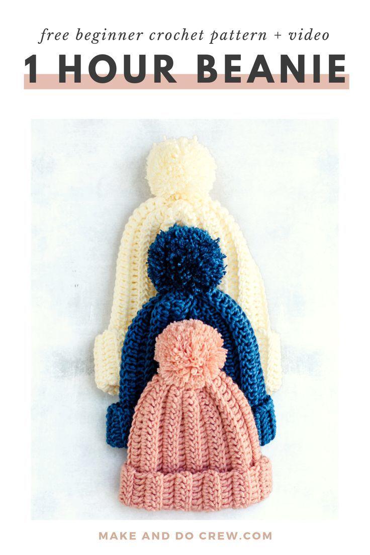 1 hour beanie – free hat crochet pattern    video #crochet #crochetpattern #freecrochetpattern
