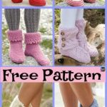 10 Knitted Cozy Slippers Free Patterns