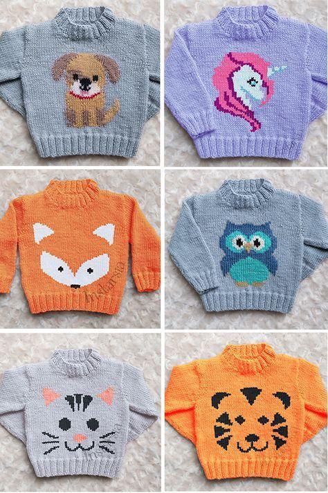 10 Strickmuster für Baby und Kinderpullover mit Tieren
