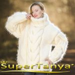 12 strands mega thick and fuzzy hand knitted mohair sweater with big cable, unisex handgestrickte pullover in ivory cream by SuperTanya