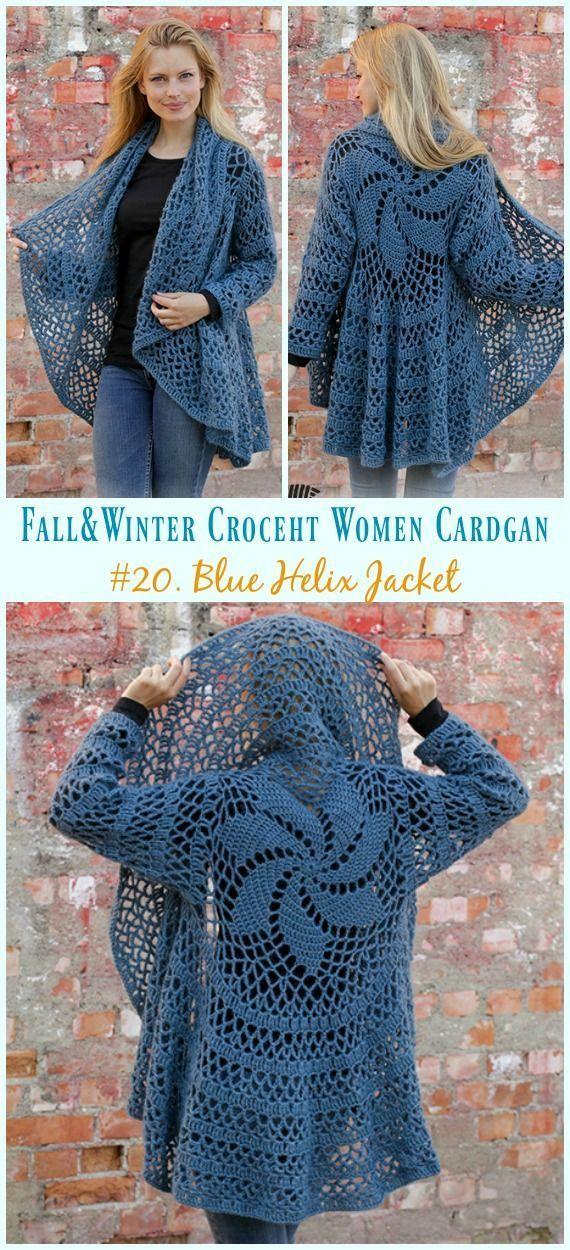 Fall & Winter Women Cardigan Free Crochet Patterns