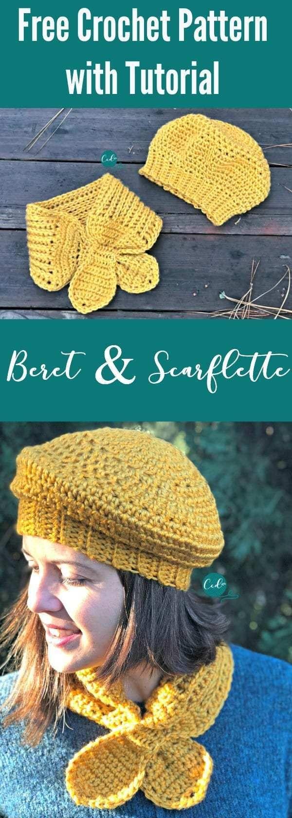 Crochet Beret and Scarflette Set Free Pattern