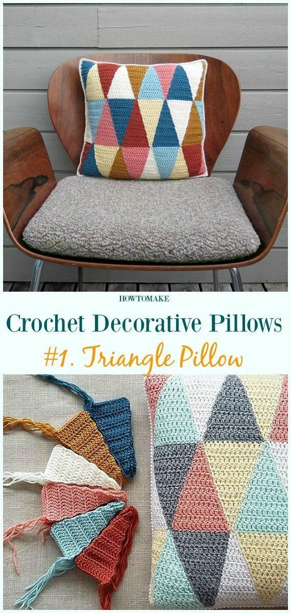 Crochet Decorative Pillow Free Patterns [Pillow case, Pillow Cover] :  Triangle …