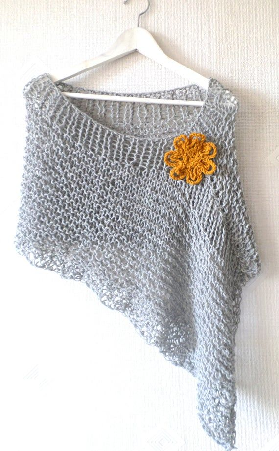 Knit poncho, knit wrap, wool poncho, women knitwear, light gray melange knit poncho, boho chic poncho with Flower, lose knit, gift for Her