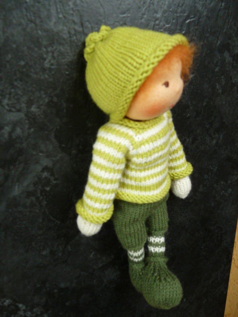 Puppe, handgefertigte Puppe, Waldorfpuppe, gestrickte Puppe, 26cm, weiche Puppe