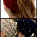 Aicsoll Kabel gestrickte Stirnbänder Frauen Pferdeschwanz Mütze Skully Hut Strickohrwärmer St...