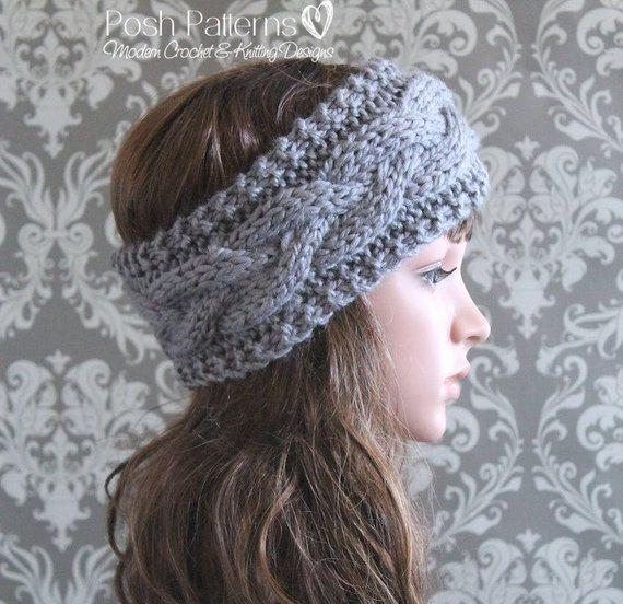 Knitting PATTERN – Cable Knit Headband Pattern – Knitting Pattern Hat – Baby, Toddler, Child, Adult Regular, Adult Large Sizes – PDF 407