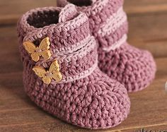 """CROCHET PATTERN – """"Cairo boots"""" baby boys booties crochet pattern, infant crochet shoes English Language Only"""