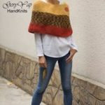 Women's wool poncho shrug cape hand knit yellow multicolored orange chunky knit poncho sweate...