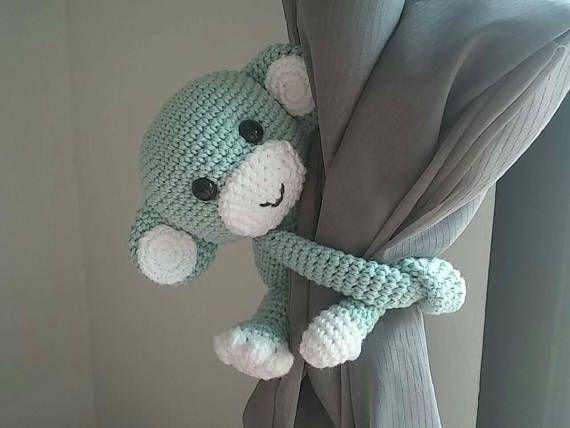 Monkey curtain tie back, cotton yarn crochet monkey, amigurumi.