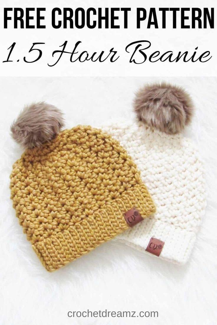 How to Crochet a Beanie, 1.5 Hour Chunky Hat